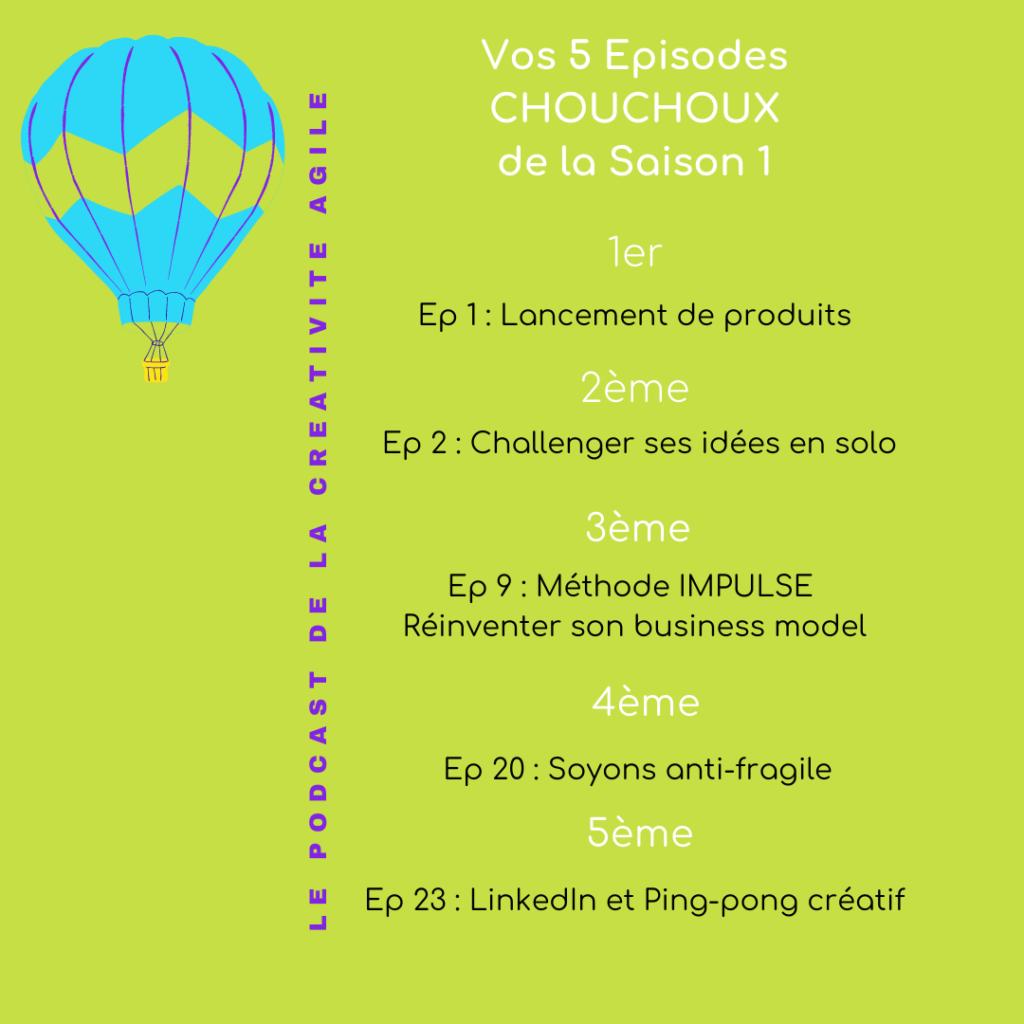 Top 5 des podcasts Chouchoux Creativite Agile